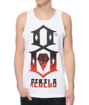 REBEL8 Up In Flames White Tank Top
