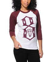 REBEL8 Women's 8 Logo White & Burgundy Baseball Tee Shirt