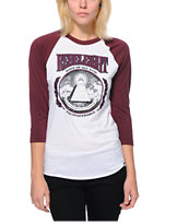 REBEL8 Women's Root Of Evil White & Maroon Baseball Tee Shirt