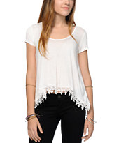 RNB Cream Crochet Trim Top