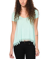 RNB Mint Crochet Trim Top