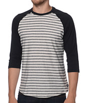 RVCA Bivy Black & White Stripe Baseball Tee Shirt