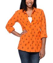 RVCA Black Oak Orange Button Up Shirt