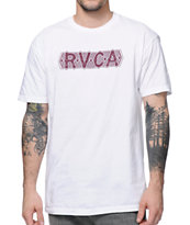 RVCA Engraved White & Burgundy T-Shirt