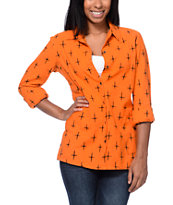 RVCA Girls Black Oak Orange Button Up Shirt
