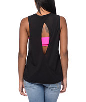 RVCA Girls Heart Ache Black Open Back Tank Top