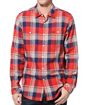RVCA Hook Red Plaid Flannel Shirt