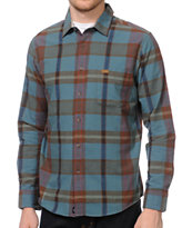 RVCA Hot Shaka Laka Blue Long Sleeve Plaid Button Up Shirt
