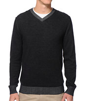 RVCA Plate Heather Black V-Neck Sweater