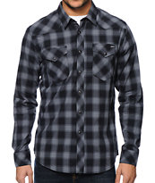 RVCA Stereomoon Black Plaid Long Sleeve Button Up Shirt