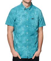 RVCA That'll Do Blue Tie Dye Oxford Button Up Shirt