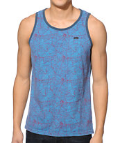 RVCA Wild Triangles Blue Tank Top