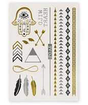 Rad Tatz Metallic Feathers & Hamsa Hand Temporary Tattoos