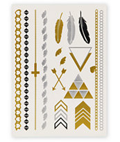 Rad Tatz Metallic Feathers & Triangles Temporary Tattoos