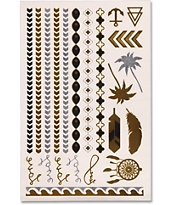 Rad Tatz Metallic Palm & Feathers Temporary Tattoos