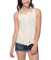 Rewind Natural Studded Sleeveless Shirt