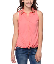 Rewind Passion Coral Studded Sleeveless Shirt
