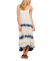 Rip Curl Tour Ivory & Blue Stripe High Low Maxi Dress