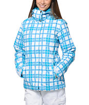 Roxy American Pie White Plaid 10K Girls Snowboard Jacket 2014