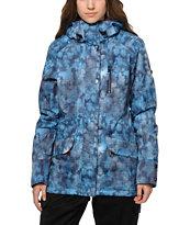 Roxy Andie Blue Textured Print 10K Snowboard Jacket
