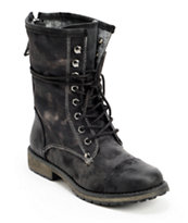 Roxy Concord Black Leather & Canvas Boots