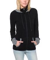 Roxy Cozy Up Black Tech Fleece Jacket