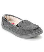 Roxy Lido Black & Grey Herringbone Wool Slippers