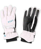 Roxy Mouna 2014 White Girls Snowboard Gloves
