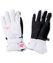 Roxy Mouna White Snowboard Gloves
