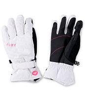 Roxy Mouna White Snowboard Gloves