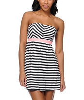 Roxy Now You See It Striped Strapless Dress