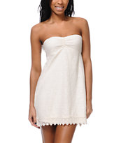 Roxy Petal Storm Ivory White Crochet Strapless Dress