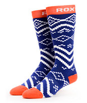 Roxy Run It Back Blue Snowboard Socks