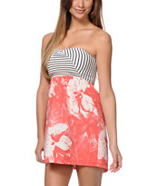 Roxy Savage 2 Rose Print Strapless Dress