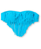 Roxy Surf Essentials Caribbean Blue Fringe Bandeau Bikini Top