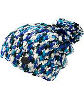 Roxy Swirl Blue Pom Beanie