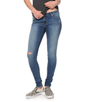 S.O.N.G. Rocker Medium Wash Destructed Skinny Jeans