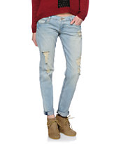 STS Blue Destructed Light Wash Boyfriend Fit Jeans