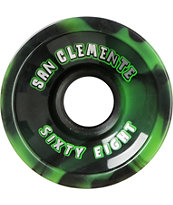San Clemente Summer Swirl Green & Black 68mm Longboard Wheels