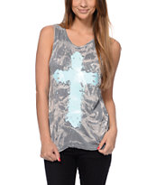 See You Monday Acid Wash Mint Cross Muscle Tank Top