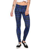 See You Monday Black & Blue Tribal Leggings