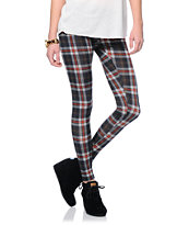 See You Monday Black & Red Plaid Leggings