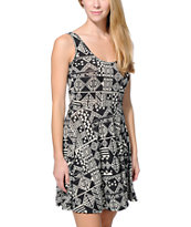 See You Monday Black & White Tribal Print Skater Dress