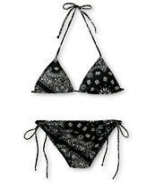 See You Monday Black Bandana Print Bikini Set