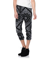 See You Monday Black Bandanna Print Jogger Sweat Pants