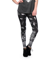See You Monday Black Ditsy Tribal Print Leggings
