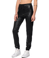 See You Monday Black Faux Leather Jogger Pants