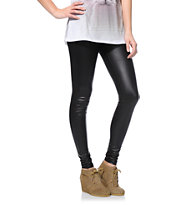 See You Monday Black Faux Leather Leggings