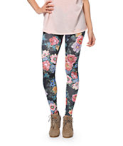 See You Monday Black Floral Print Leggings