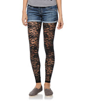 See You Monday Black Lace Leggings